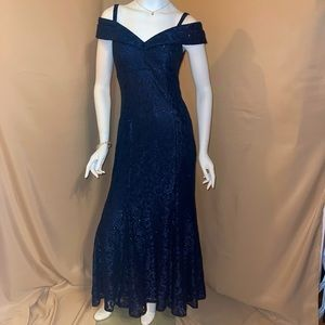 NWT Navy Blue off shoulder sparkle dress